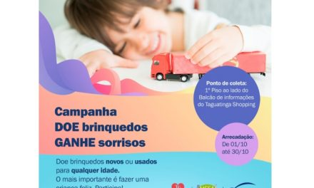 Neste Dia das Crianças, Taguatinga Shopping convida público para campanha de doação de brinquedos e ações em suas Redes Sociais
